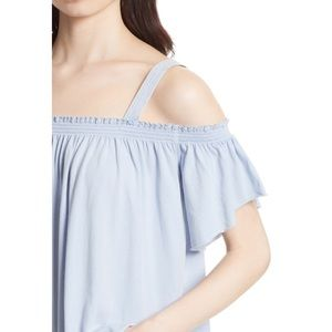 NWT FREE PEOPLE Off the Shoulder Top Linen Blue